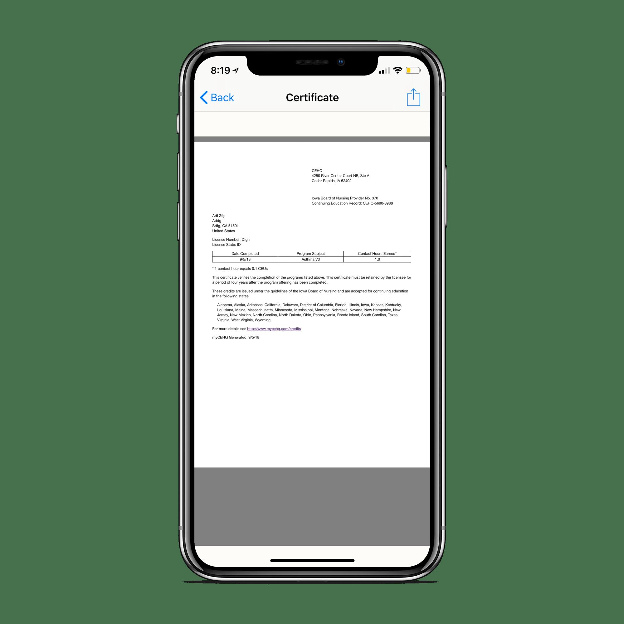 CE Vault: CE Certificate